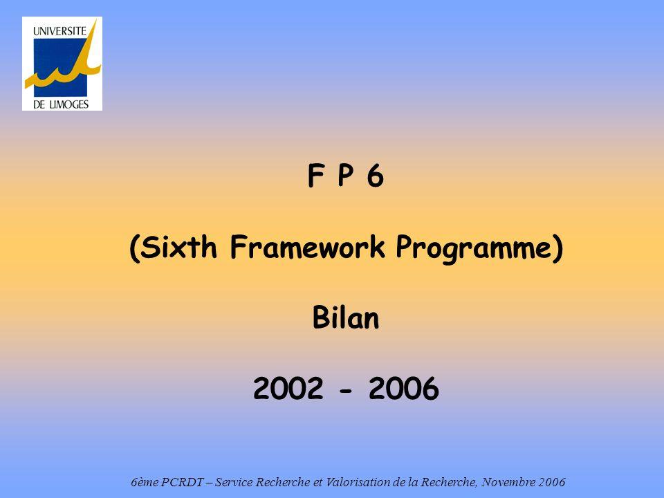 F P 6 (Sixth Framework Programme) Bilan 2002 - 2006 6ème PCRDT – Service Recherche et Valorisation de la Recherche, Novembre 2006