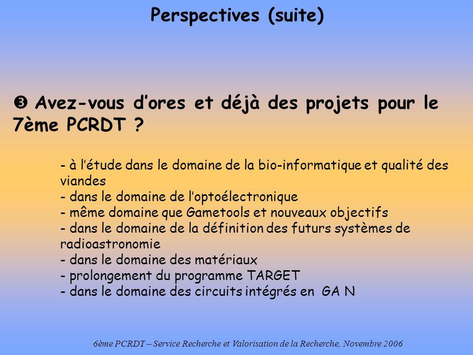 6ème PCRDT – Service Recherche et Valorisation de la Recherche, Novembre 2006 Perspectives (suite) Avez-vous dores et déjà des projets pour le 7ème PCRDT .