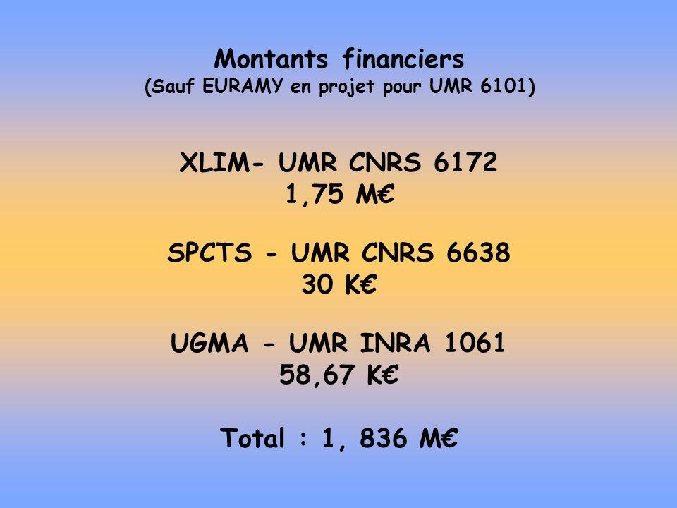 Montants financiers (Sauf EURAMY en projet pour UMR 6101) XLIM- UMR CNRS 6172 1,75 M SPCTS - UMR CNRS 6638 30 K UGMA - UMR INRA 1061 58,67 K Total : 1, 836 M