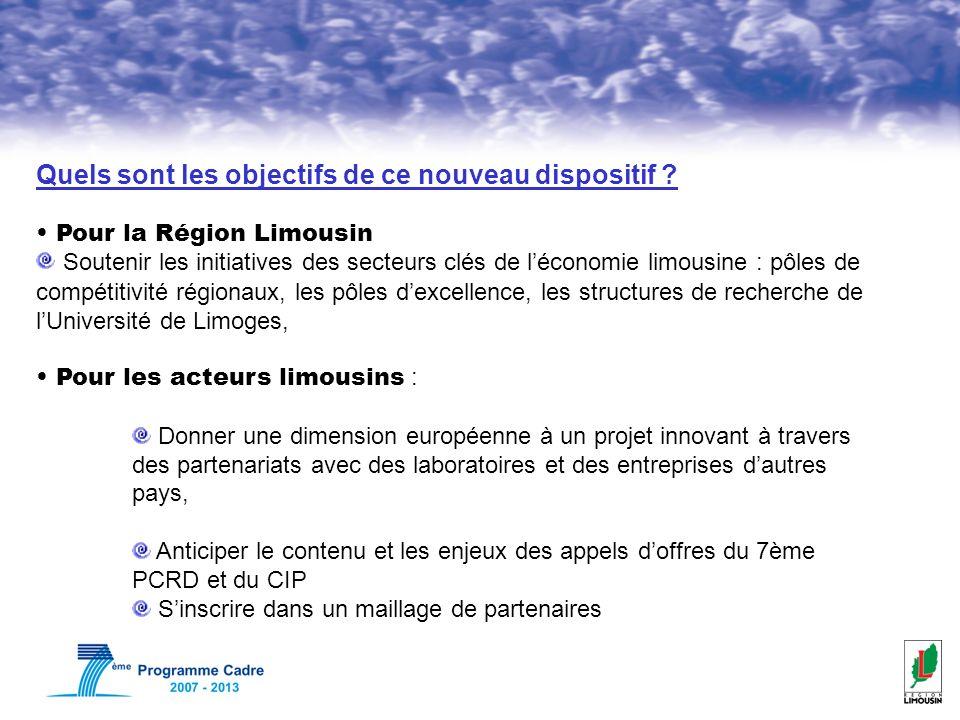 Quels sont les objectifs de ce nouveau dispositif ? Pour la Région Limousin Soutenir les initiatives des secteurs clés de léconomie limousine : pôles