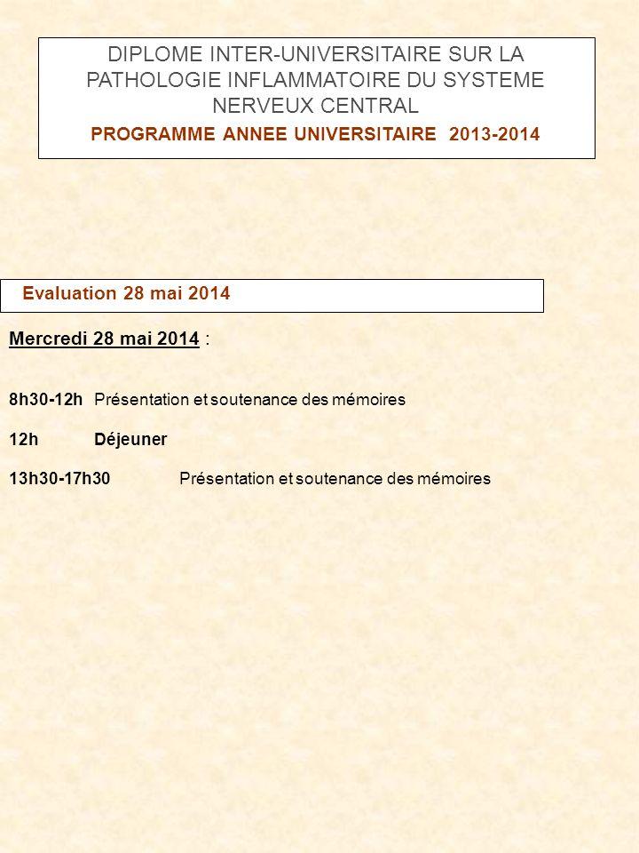 Evaluation 28 mai 2014 Mercredi 28 mai 2014 : 8h30-12h Présentation et soutenance des mémoires 12h Déjeuner 13h30-17h30 Présentation et soutenance des