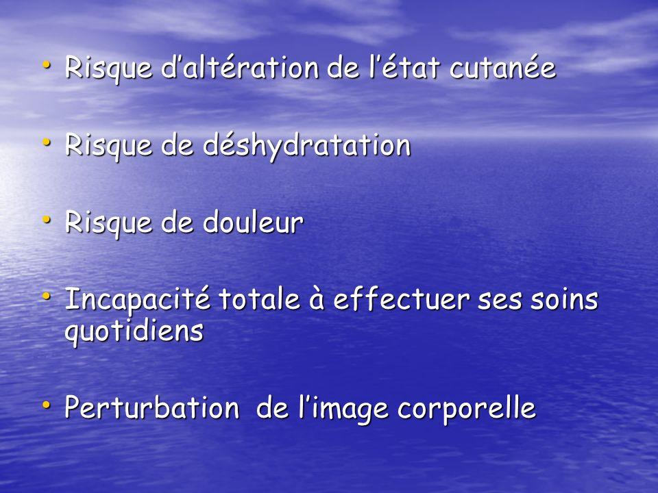 Risque daltération de létat cutanée Risque daltération de létat cutanée Risque de déshydratation Risque de déshydratation Risque de douleur Risque de