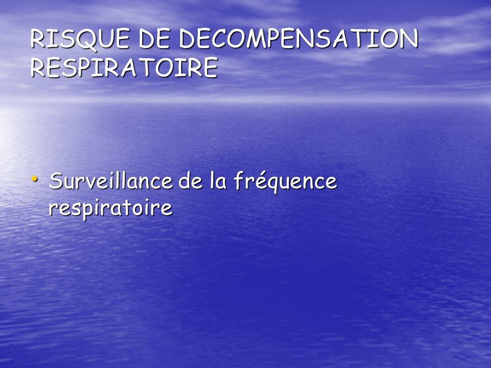 RISQUE DE DECOMPENSATION RESPIRATOIRE Surveillance de la fréquence respiratoire Surveillance de la fréquence respiratoire