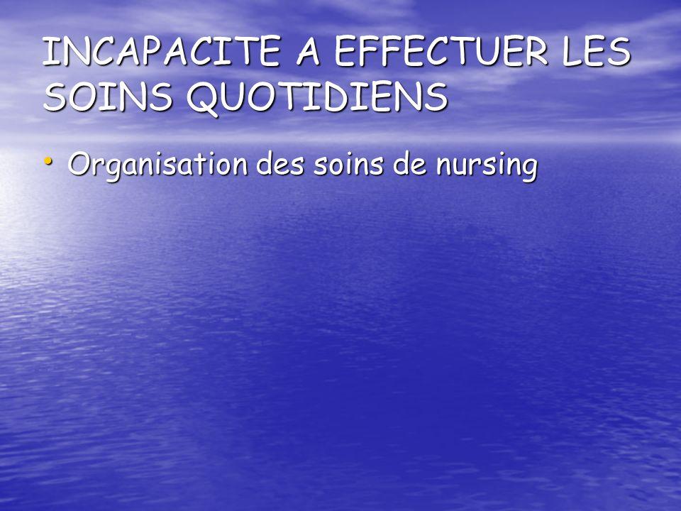INCAPACITE A EFFECTUER LES SOINS QUOTIDIENS Organisation des soins de nursing Organisation des soins de nursing