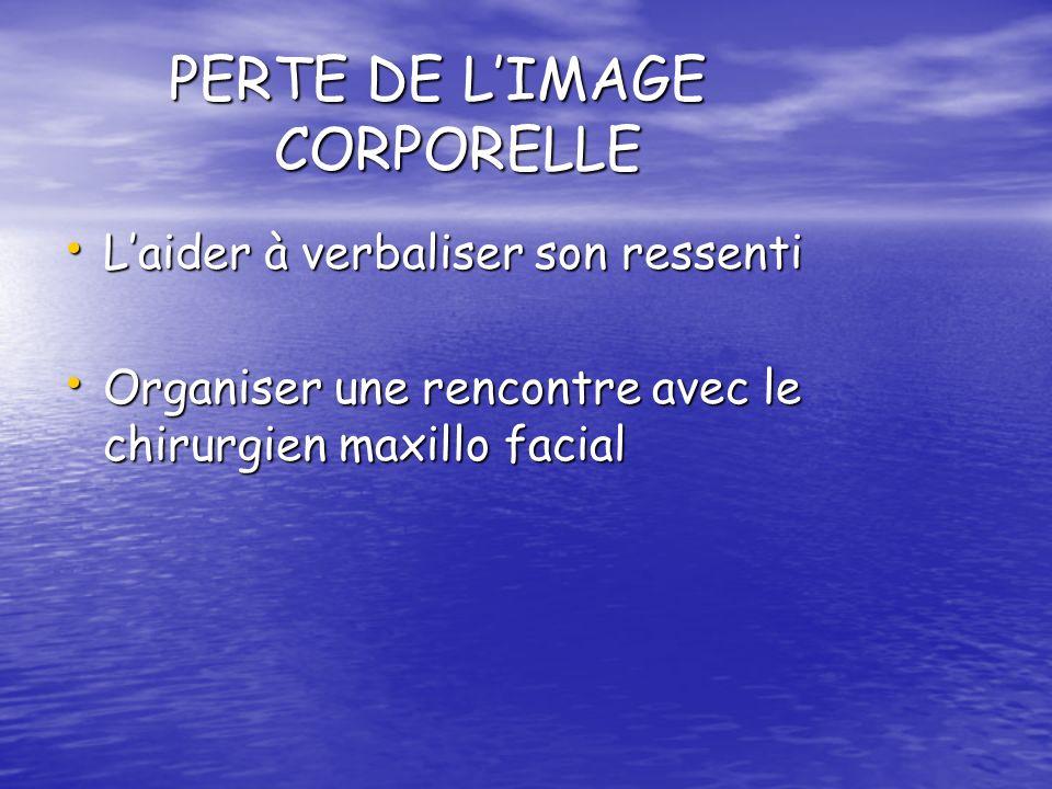 PERTE DE LIMAGE CORPORELLE Laider à verbaliser son ressenti Laider à verbaliser son ressenti Organiser une rencontre avec le chirurgien maxillo facial