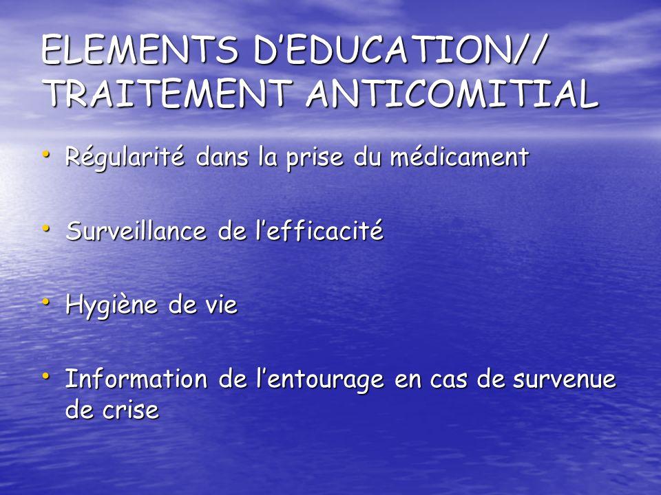 ELEMENTS DEDUCATION// TRAITEMENT ANTICOMITIAL Régularité dans la prise du médicament Régularité dans la prise du médicament Surveillance de lefficacit
