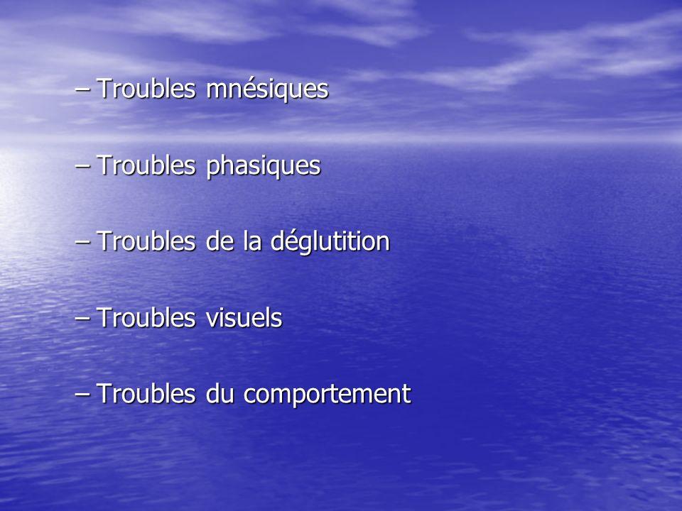 –Troubles mnésiques –Troubles phasiques –Troubles de la déglutition –Troubles visuels –Troubles du comportement