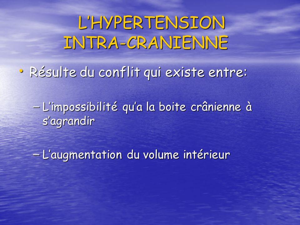 LHYPERTENSION INTRA-CRANIENNE Résulte du conflit qui existe entre: Résulte du conflit qui existe entre: – Limpossibilité qua la boite crânienne à sagr