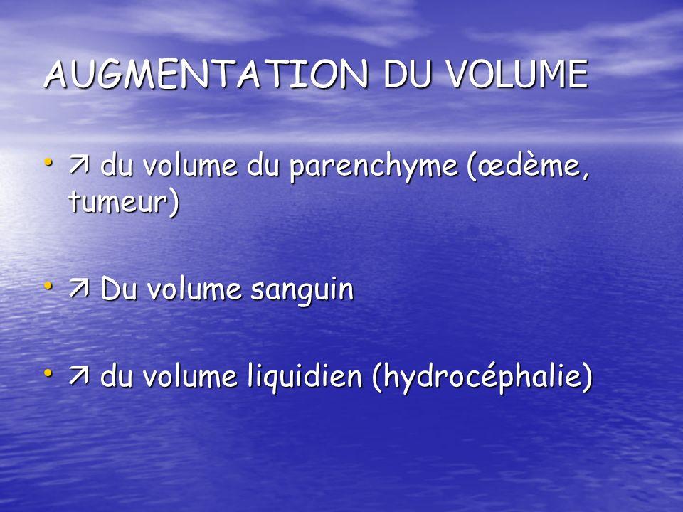 AUGMENTATION DU VOLUME du volume du parenchyme (œdème, tumeur) du volume du parenchyme (œdème, tumeur) Du volume sanguin Du volume sanguin du volume l