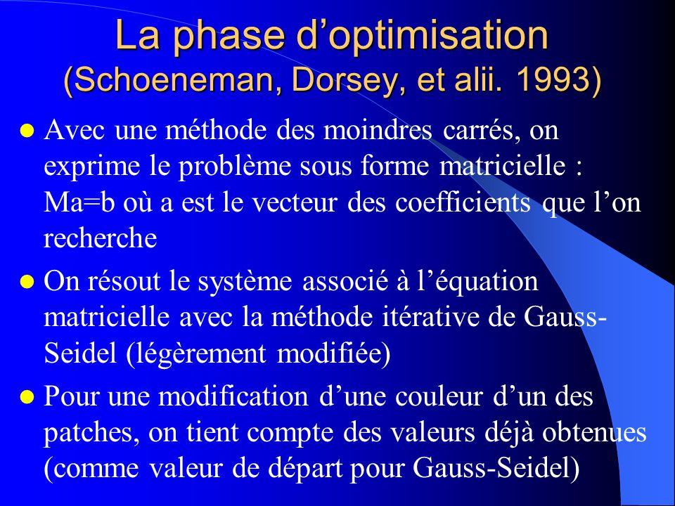 La phase doptimisation (Schoeneman, Dorsey, et alii. 1993) Avec une méthode des moindres carrés, on exprime le problème sous forme matricielle : Ma=b