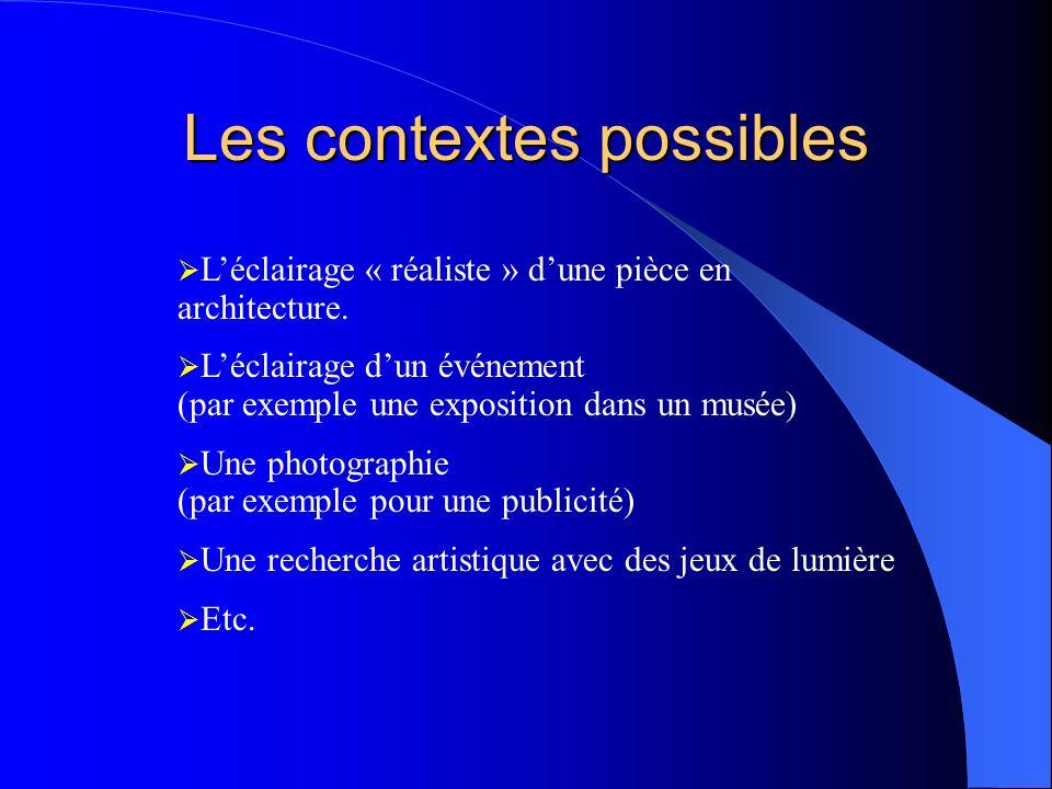 Les contextes possibles Léclairage « réaliste » dune pièce en architecture. Léclairage dun événement (par exemple une exposition dans un musée) Une ph