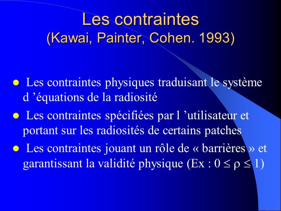 Les contraintes (Kawai, Painter, Cohen. 1993) Les contraintes physiques traduisant le système d équations de la radiosité Les contraintes spécifiées p