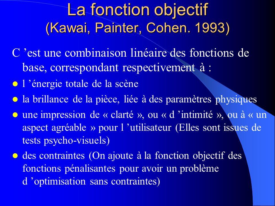 La fonction objectif (Kawai, Painter, Cohen. 1993) C est une combinaison linéaire des fonctions de base, correspondant respectivement à : l énergie to