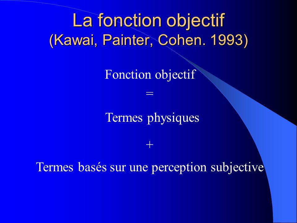 La fonction objectif (Kawai, Painter, Cohen. 1993) Fonction objectif = Termes physiques + Termes basés sur une perception subjective