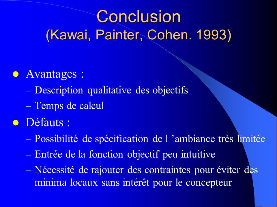 Conclusion (Kawai, Painter, Cohen. 1993) Avantages : – Description qualitative des objectifs – Temps de calcul Défauts : – Possibilité de spécificatio