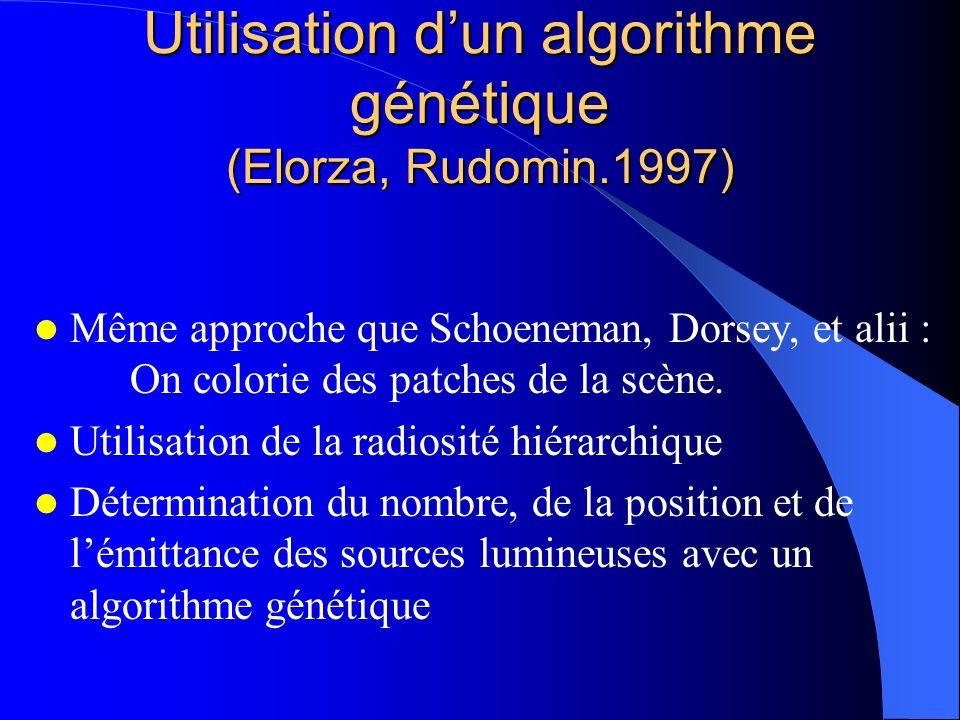 Utilisation dun algorithme génétique (Elorza, Rudomin.1997) Même approche que Schoeneman, Dorsey, et alii : On colorie des patches de la scène. Utilis