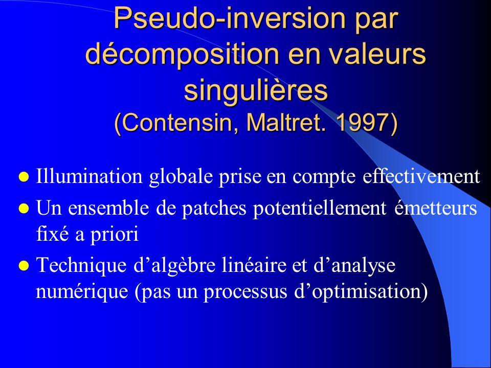 Pseudo-inversion par décomposition en valeurs singulières (Contensin, Maltret. 1997) Illumination globale prise en compte effectivement Un ensemble de