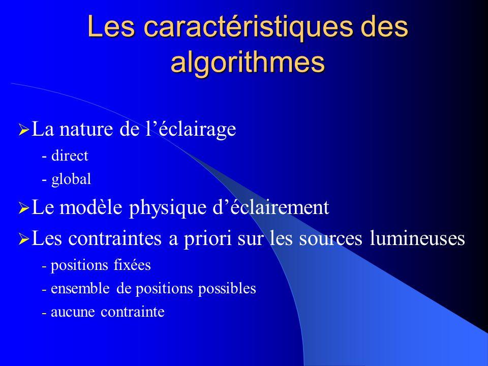 Les caractéristiques des algorithmes La nature de léclairage - direct - global Le modèle physique déclairement Les contraintes a priori sur les sources lumineuses - positions fixées - ensemble de positions possibles - aucune contrainte