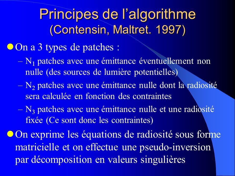 Principes de lalgorithme (Contensin, Maltret. 1997) On a 3 types de patches : –N 1 patches avec une émittance éventuellement non nulle (des sources de