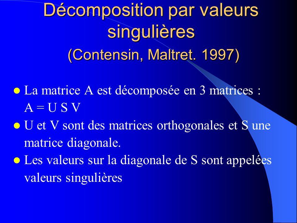 Décomposition par valeurs singulières (Contensin, Maltret. 1997) La matrice A est décomposée en 3 matrices : A = U S V U et V sont des matrices orthog