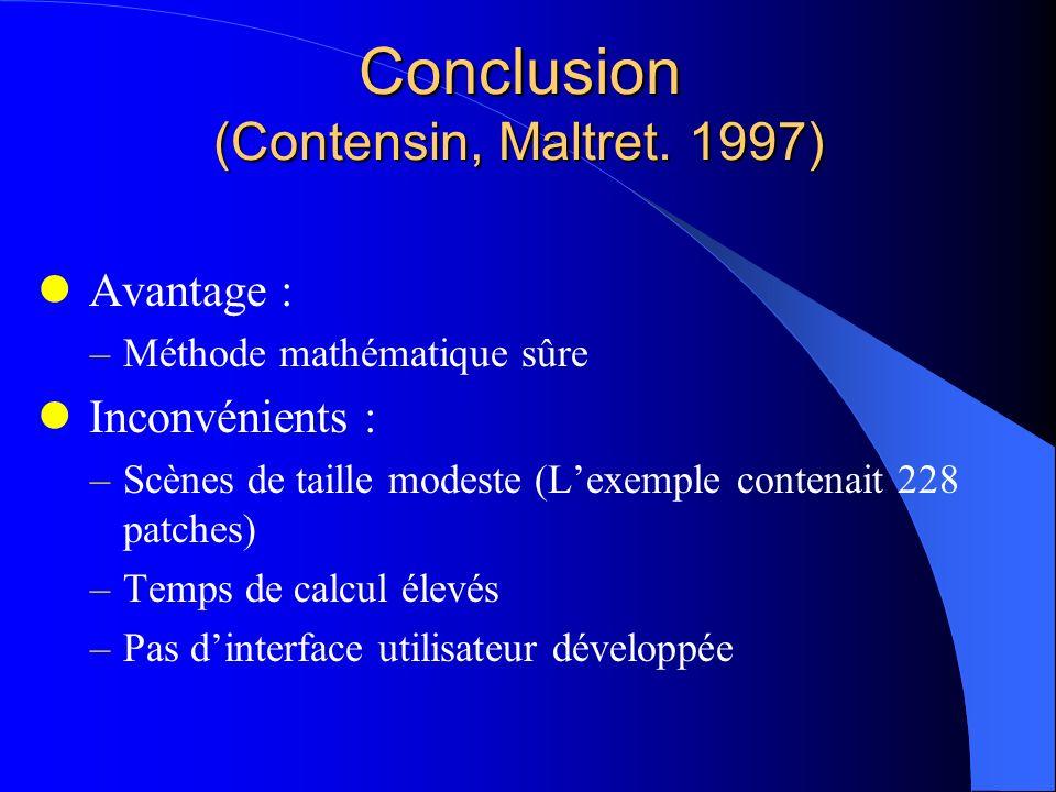 Conclusion (Contensin, Maltret. 1997) Avantage : –Méthode mathématique sûre Inconvénients : –Scènes de taille modeste (Lexemple contenait 228 patches)