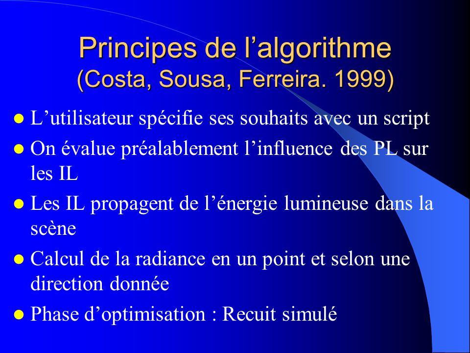 Principes de lalgorithme (Costa, Sousa, Ferreira. 1999) Lutilisateur spécifie ses souhaits avec un script On évalue préalablement linfluence des PL su