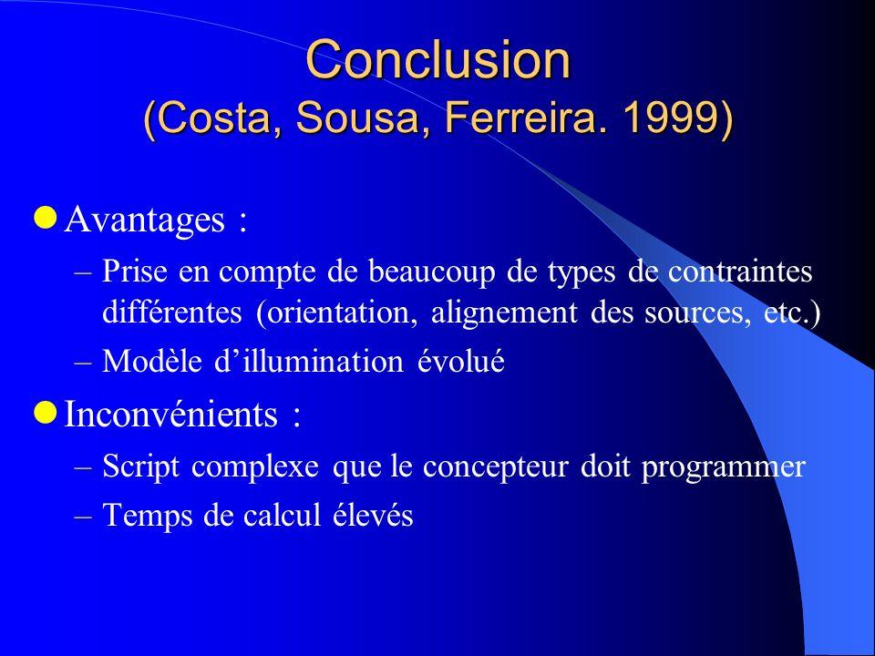 Conclusion (Costa, Sousa, Ferreira. 1999) Avantages : –Prise en compte de beaucoup de types de contraintes différentes (orientation, alignement des so