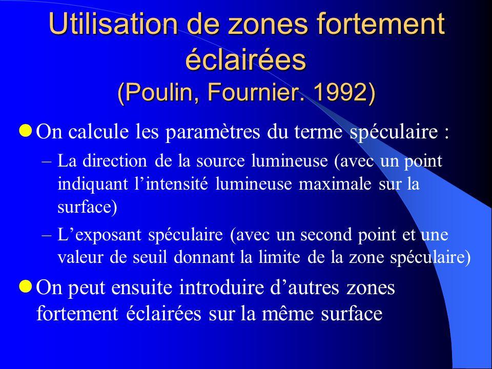 Utilisation de zones fortement éclairées (Poulin, Fournier. 1992) On calcule les paramètres du terme spéculaire : –La direction de la source lumineuse
