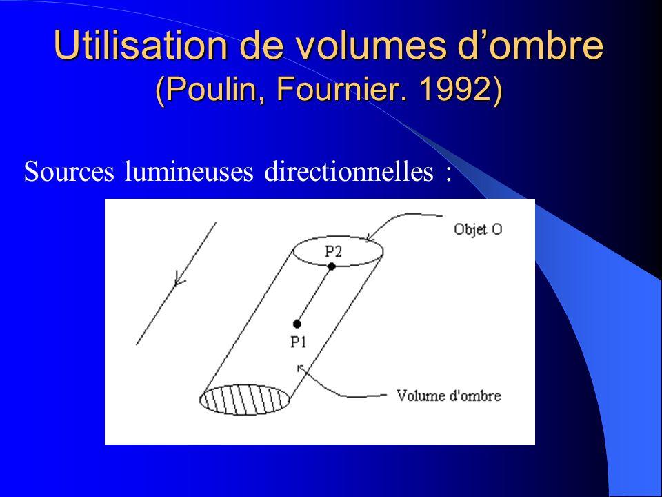 Utilisation de volumes dombre (Poulin, Fournier. 1992) Sources lumineuses directionnelles :