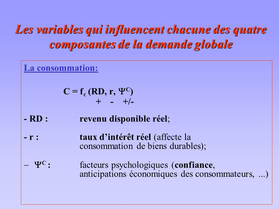 Les variables qui influencent chacune des quatre composantes de la demande globale La consommation: C = f c (RD, r, C ) + - +/- - RD : revenu disponib