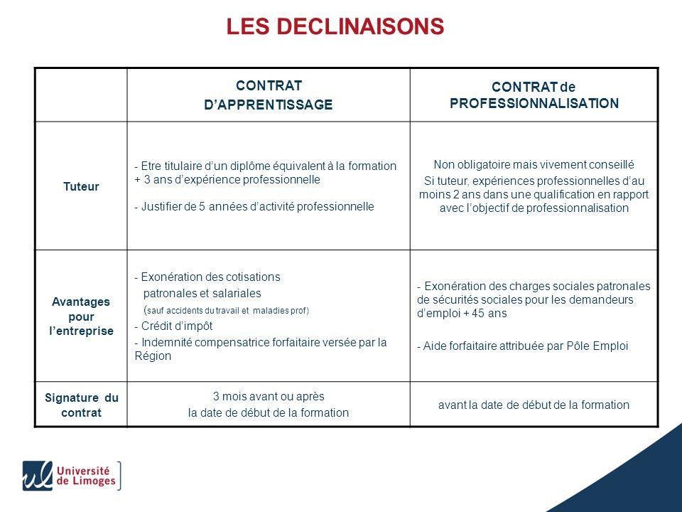 LES DECLINAISONS CONTRAT DAPPRENTISSAGE CONTRAT de PROFESSIONNALISATION Tuteur - Etre titulaire dun diplôme équivalent à la formation + 3 ans dexpérie