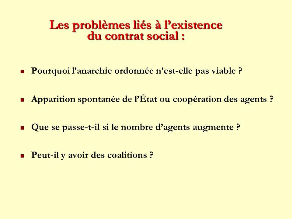 Les problèmes liés à lexistence du contrat social : Pourquoi lanarchie ordonnée nest-elle pas viable ? Apparition spontanée de lÉtat ou coopération de