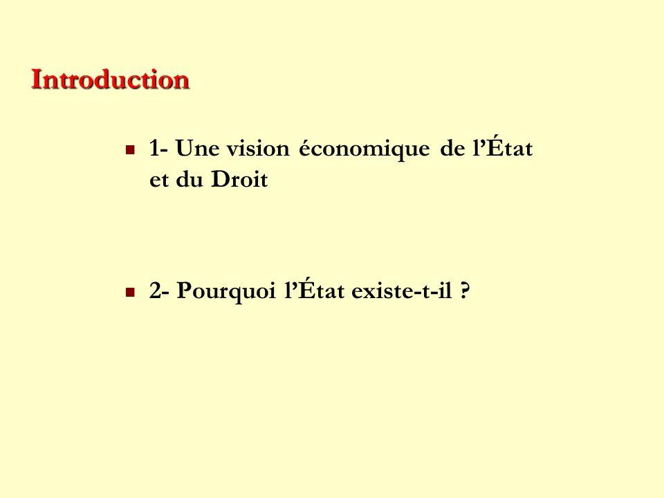 Introduction 1- Une vision économique de lÉtat et du Droit 2- Pourquoi lÉtat existe-t-il ?
