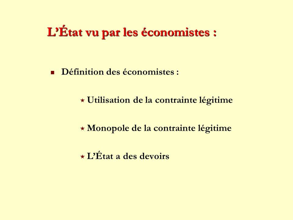 LÉtat vu par les économistes : Définition des économistes : Utilisation de la contrainte légitime Monopole de la contrainte légitime LÉtat a des devoi