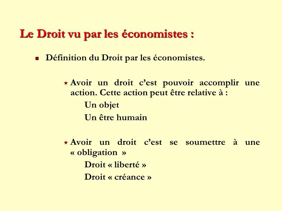 Le Droit vu par les économistes : Définition du Droit par les économistes. Avoir un droit cest pouvoir accomplir une action. Cette action peut être re