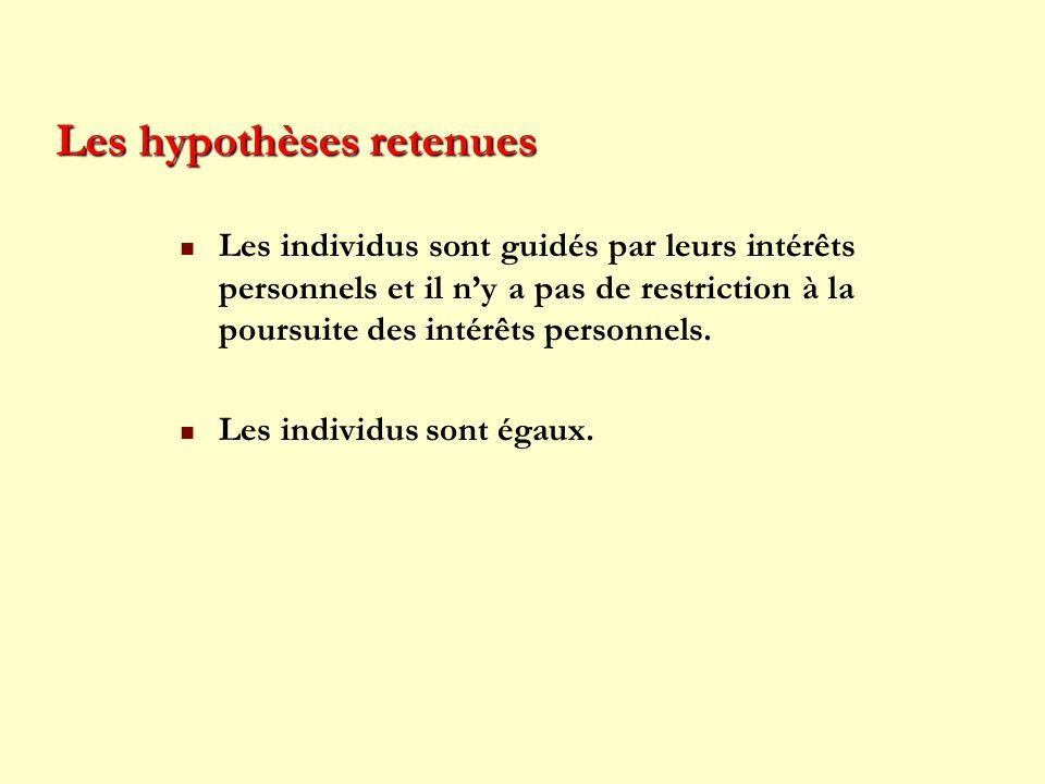 Les hypothèses retenues Les individus sont guidés par leurs intérêts personnels et il ny a pas de restriction à la poursuite des intérêts personnels.