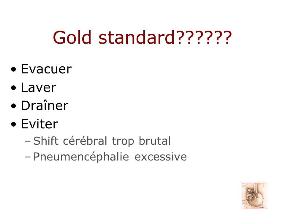 Gold standard?????? Evacuer Laver Draîner Eviter –Shift cérébral trop brutal –Pneumencéphalie excessive