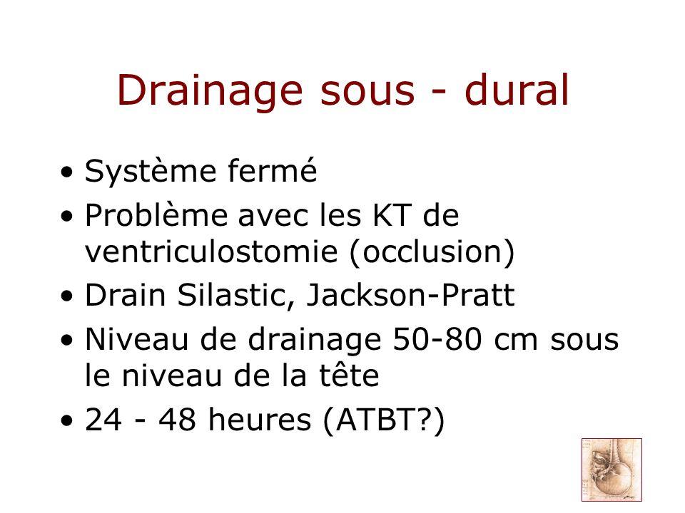 Drainage sous - dural Système fermé Problème avec les KT de ventriculostomie (occlusion) Drain Silastic, Jackson-Pratt Niveau de drainage 50-80 cm sou