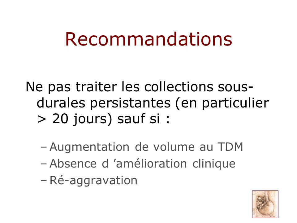 Recommandations Ne pas traiter les collections sous- durales persistantes (en particulier > 20 jours) sauf si : –Augmentation de volume au TDM –Absenc