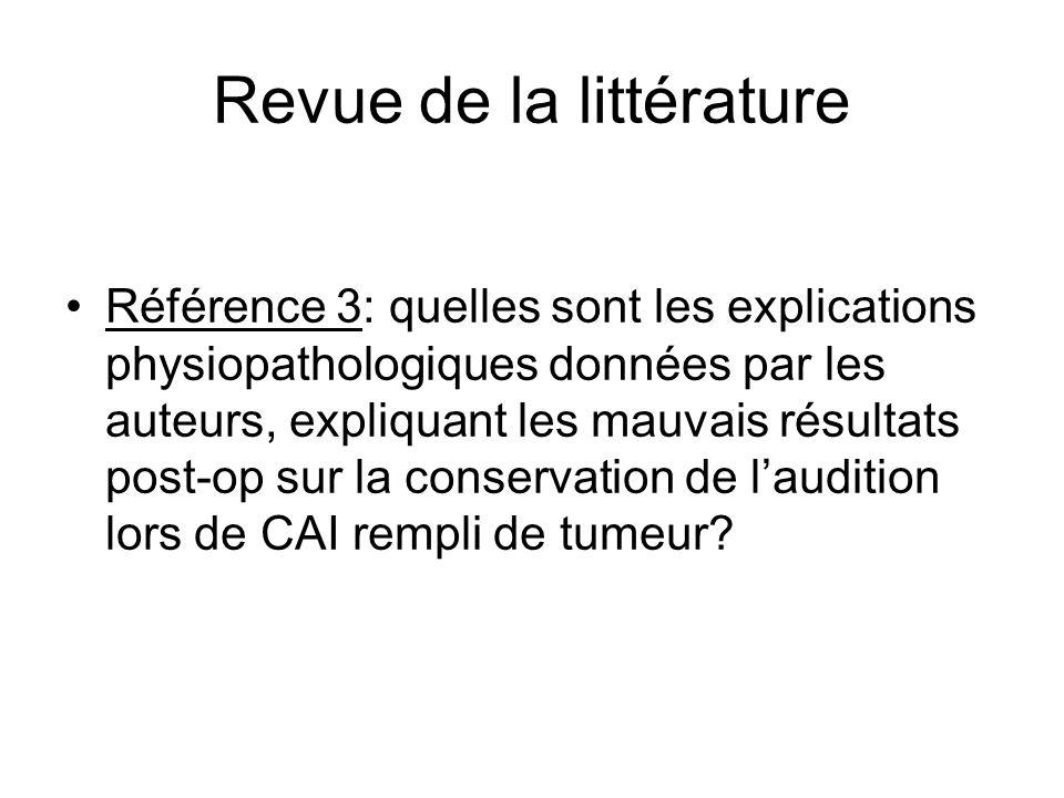 Revue de la littérature Référence 3: quelles sont les explications physiopathologiques données par les auteurs, expliquant les mauvais résultats post-