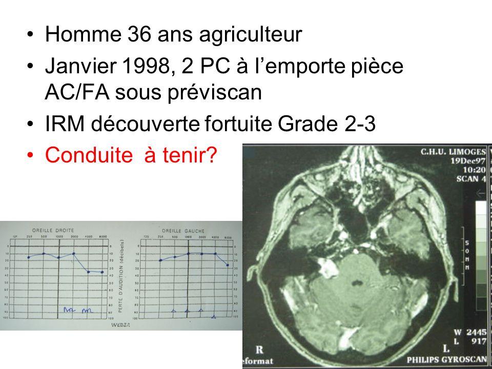 Homme 36 ans agriculteur Janvier 1998, 2 PC à lemporte pièce AC/FA sous préviscan IRM découverte fortuite Grade 2-3 Conduite à tenir? Déc 97