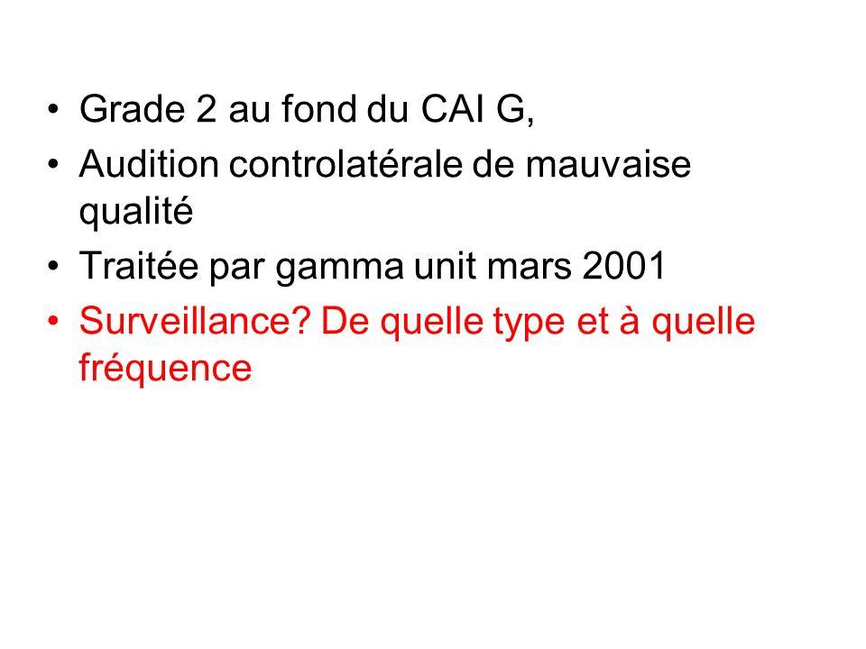 Grade 2 au fond du CAI G, Audition controlatérale de mauvaise qualité Traitée par gamma unit mars 2001 Surveillance? De quelle type et à quelle fréque
