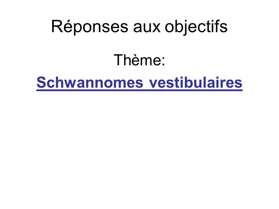 Réponses aux objectifs Thème: Schwannomes vestibulaires