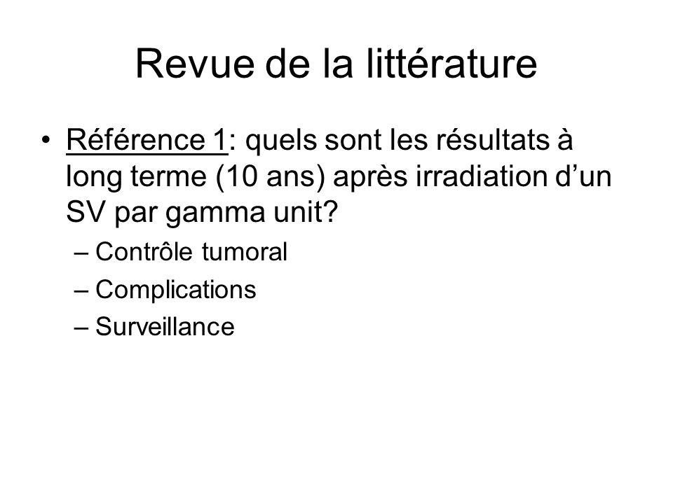 Revue de la littérature Référence 1: quels sont les résultats à long terme (10 ans) après irradiation dun SV par gamma unit? –Contrôle tumoral –Compli