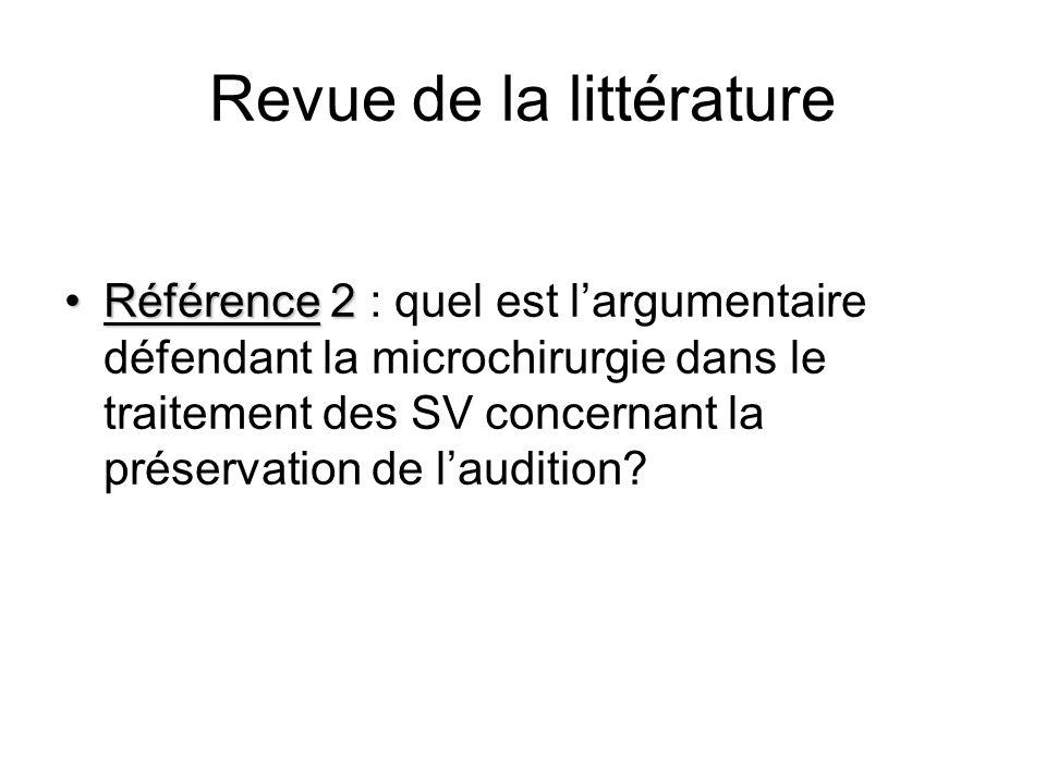 Revue de la littérature Référence 2Référence 2 : quel est largumentaire défendant la microchirurgie dans le traitement des SV concernant la préservati