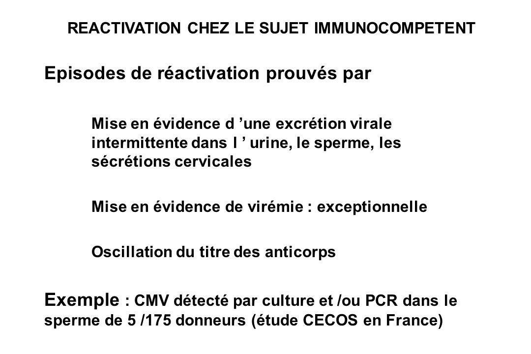 REACTIVATION CHEZ LE SUJET IMMUNOCOMPETENT Episodes de réactivation prouvés par Mise en évidence d une excrétion virale intermittente dans l urine, le