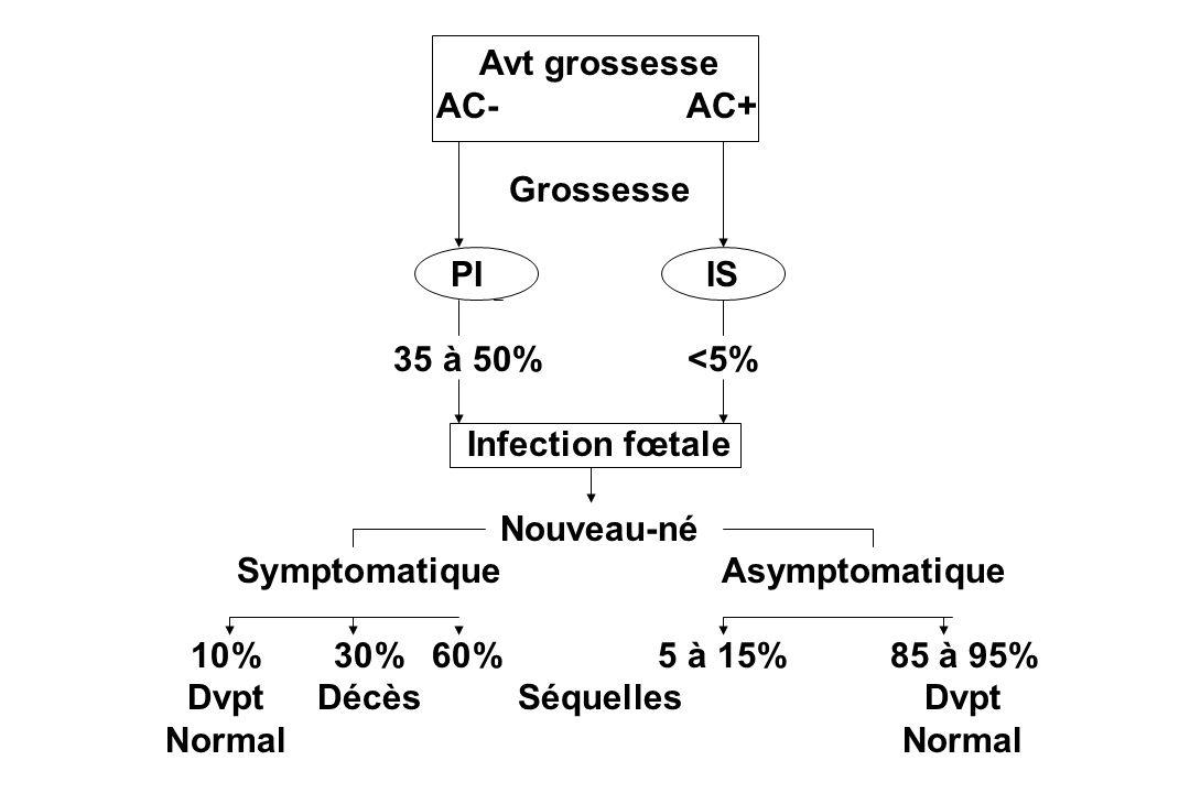 Avt grossesse AC-AC+ Grossesse PIIS 35 à 50%<5% Infection fœtale Nouveau-né SymptomatiqueAsymptomatique 10%30%60%5 à 15%85 à 95% Dvpt DécèsSéquellesDv
