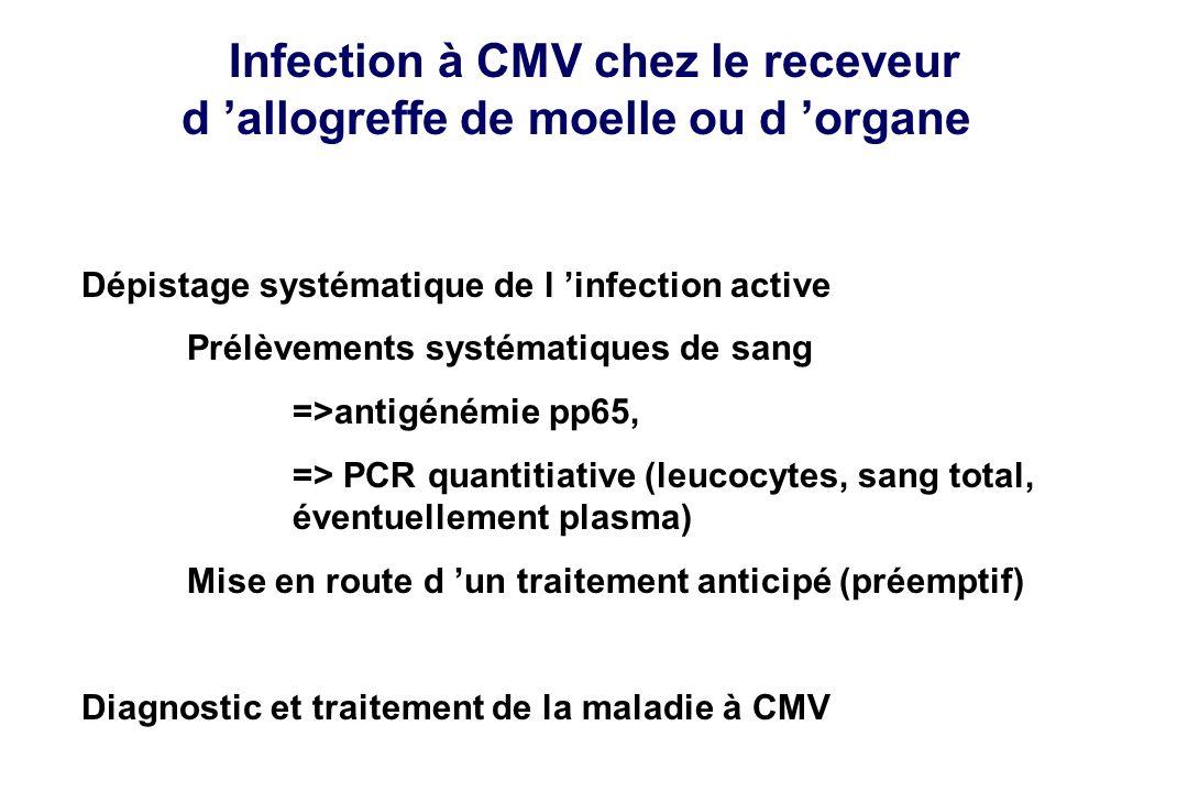 Infection à CMV chez le receveur d allogreffe de moelle ou d organe Dépistage systématique de l infection active Prélèvements systématiques de sang =>
