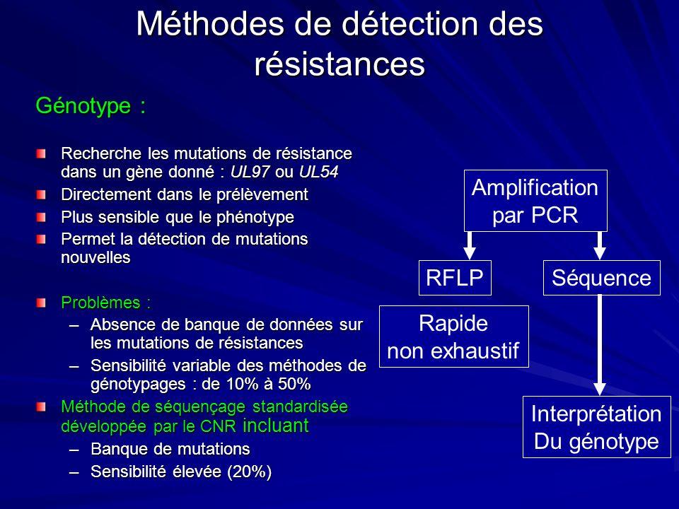 Génotype : Recherche les mutations de résistance dans un gène donné : UL97 ou UL54 Directement dans le prélèvement Plus sensible que le phénotype Perm