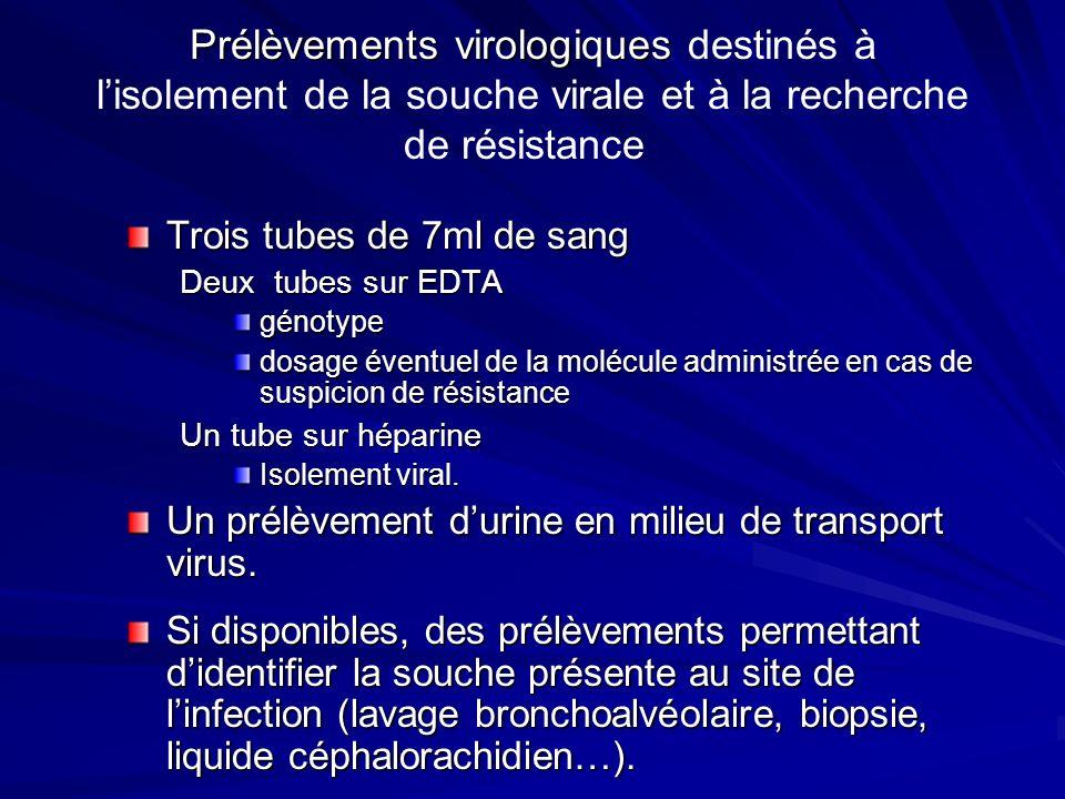 Prélèvements virologiques Prélèvements virologiques destinés à lisolement de la souche virale et à la recherche de résistance Trois tubes de 7ml de sa